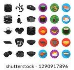 sushi and seasoning black flat... | Shutterstock .eps vector #1290917896