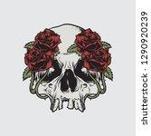 skull roses death logo vector... | Shutterstock .eps vector #1290920239