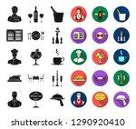 restaurant and bar black flat... | Shutterstock .eps vector #1290920410