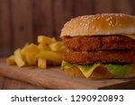 homemade hamburger on a wooden... | Shutterstock . vector #1290920893