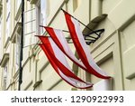 red and white flags of the city ...   Shutterstock . vector #1290922993
