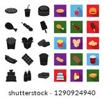 fast food black flat icons in... | Shutterstock .eps vector #1290924940