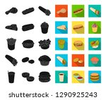 fast food black flat icons in... | Shutterstock .eps vector #1290925243