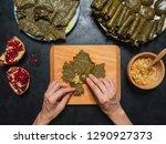 dolma   sarma stuffed grape... | Shutterstock . vector #1290927373