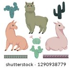 llama animals  cacti and ... | Shutterstock .eps vector #1290938779
