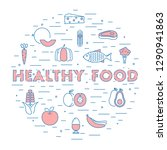 healthy food background. flat... | Shutterstock .eps vector #1290941863