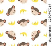 cute monkey with bananas.... | Shutterstock .eps vector #1290947269