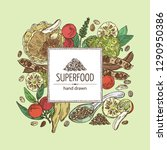 background with super food ... | Shutterstock .eps vector #1290950386