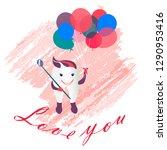 love you tooth. vector...   Shutterstock .eps vector #1290953416
