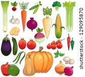 vegetables. large icon set of... | Shutterstock .eps vector #129095870