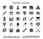 picnic icon set. 30 filled... | Shutterstock .eps vector #1290959059