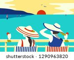 summer seaside landscape. blue... | Shutterstock .eps vector #1290963820