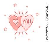 couple hearts flat cartoon... | Shutterstock .eps vector #1290979333