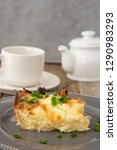 cottage layered pie. dough with ... | Shutterstock . vector #1290983293