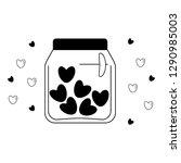 jar of hearts vector doodle ... | Shutterstock .eps vector #1290985003
