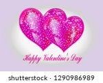 glass heart  congratulations on ... | Shutterstock .eps vector #1290986989