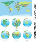 all nations  of the world map... | Shutterstock .eps vector #129098900