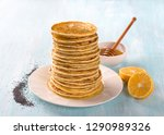 lemon pancakes with poppy seeds ... | Shutterstock . vector #1290989326