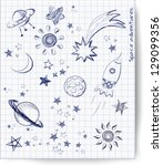 space objects sketch | Shutterstock .eps vector #129099356