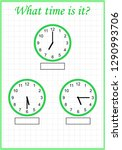 worksheet. what time is it ... | Shutterstock .eps vector #1290993706