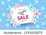 valentines day sale banner with ... | Shutterstock .eps vector #1291023073