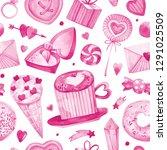 seamless watercolor hand... | Shutterstock . vector #1291025509