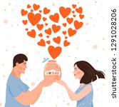 valentine's day card with happy ... | Shutterstock .eps vector #1291028206