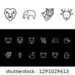 fauna icon set and reindeer...
