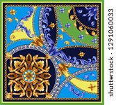 design scarf with golden... | Shutterstock .eps vector #1291060033