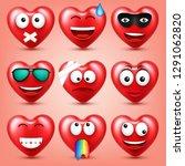 heart smiley emoji vector set...   Shutterstock .eps vector #1291062820