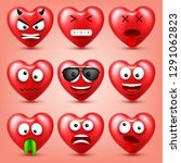 heart smiley emoji vector set... | Shutterstock .eps vector #1291062823
