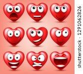 heart smiley emoji vector set...   Shutterstock .eps vector #1291062826