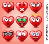 heart smiley emoji vector set... | Shutterstock .eps vector #1291063099