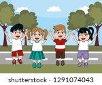 cute children cartoon | Shutterstock .eps vector #1291074043