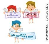 valentine's day cupid... | Shutterstock .eps vector #1291074379