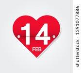valentines day calendar. 14... | Shutterstock .eps vector #1291077886