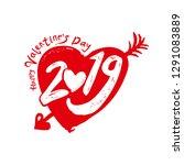 big red heart 2019. valentine's ... | Shutterstock .eps vector #1291083889