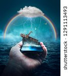 Small photo of Surreal art of Noah's Ark Bible Story on a cellphone.