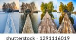 four seasons. hut on a small... | Shutterstock . vector #1291116019