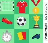 soccer set  football equipment... | Shutterstock .eps vector #1291119679
