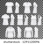 t shirt templates with hoodie... | Shutterstock .eps vector #1291120096
