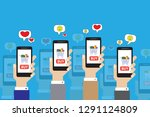many hands hold the phone for...   Shutterstock . vector #1291124809
