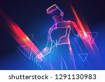 virtual reality gaming. man... | Shutterstock .eps vector #1291130983