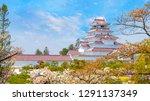 aizuwakamatsu castle and cherry ... | Shutterstock . vector #1291137349