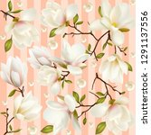 flowers and buds magnolia.... | Shutterstock .eps vector #1291137556