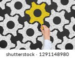 solution concepts with gears on ... | Shutterstock . vector #1291148980