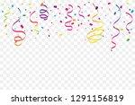 colorful confetti and ribbon... | Shutterstock .eps vector #1291156819