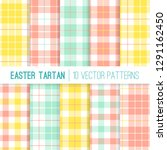 easter yellow  mint and coral... | Shutterstock .eps vector #1291162450