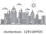 cityscape building line art... | Shutterstock .eps vector #1291184920
