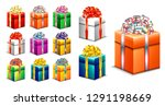 set of realistic gift box with... | Shutterstock .eps vector #1291198669